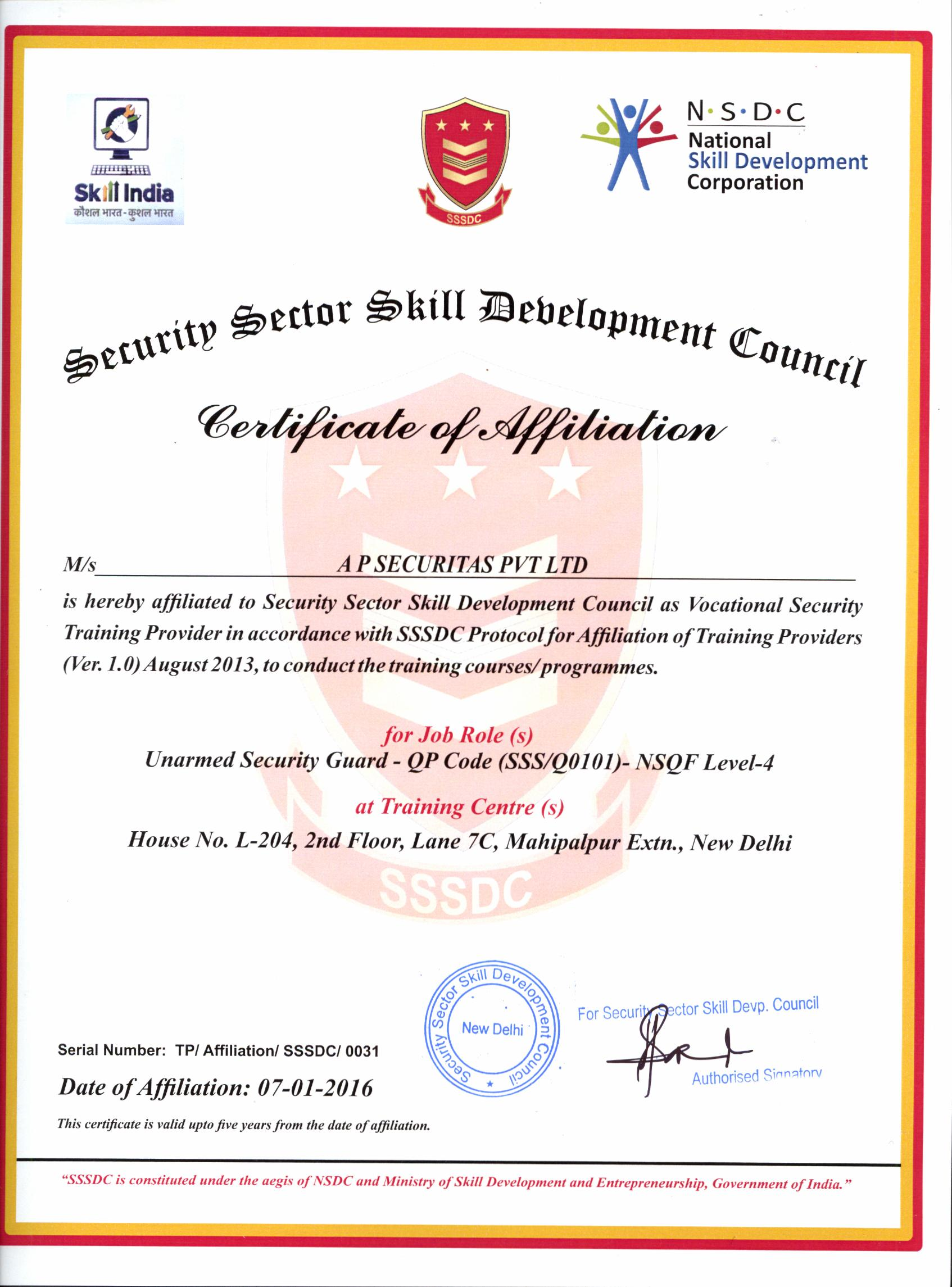 Aps group a p securitas pvt ltd have affiliated to security sector skill development council as vocational security training provider in accordance with sssdc yadclub Gallery